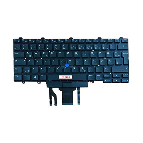 Keyboard Colour: Black without Frame with Backlit German Keyboard Layout Compatible with Dell Latitude E5450 E5470 E5250 E7450 E7470 E7250 E5480 E7270 E7480
