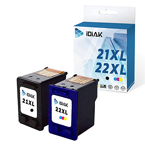 IDIAK Cartuchos de Tinta 21XL remanufacturados compatibles con HP 21XL con HP Deskjet F2120 F2180 F2280 F380 F390 F4180 F335 F375 F4180 F4190 D2360 D1460 D1530 D2360 D2460 D1460 3940 Negro + Tricolor