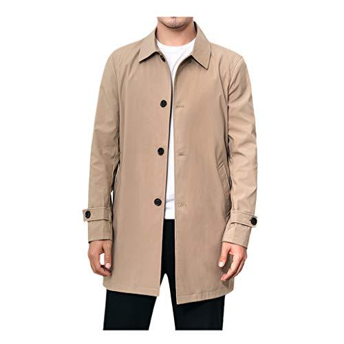 waotier Trench Coat Invierno Hombre Color sólido Cazadora Color de Borde de Bolsillo Botón Dorado Cortavientos Casual Cárdigans Largos