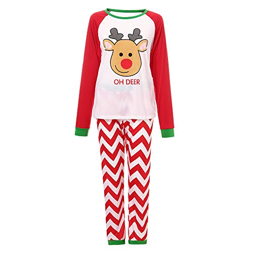 YUYOUG 2PCS Famille Matching Noël Pyjama Set, Homme Femme Bébé Cerf Striped Chemisier + Pantalons, Automne Hiver fête de Noël (XXL, pébé)