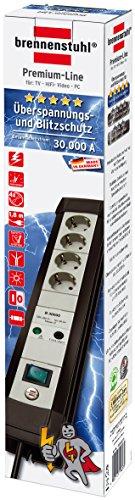 Brennenstuhl Premium-Line Überspannungsschutz-Steckdosenleiste 4-fach schwarz/lichtgrau mit Schalter, 1157050374