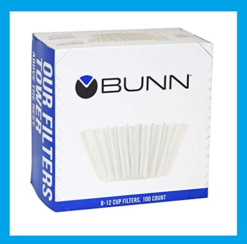 New! 100ct BUNN Coffee Tea Filters Home Brewer 8-12 Cup Makers Funnels BCF100-B