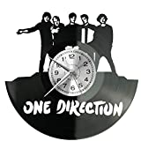 Reloj de pared de vinilo de One Direction con disco de vinilo, estilo retro, gran reloj, decoración...
