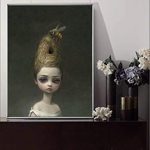 SDFSD Childish Strange Dark World Bienenkönigin Kunst Leinwand Poster Malerei Wandbild Druck Home Schlafzimmer Dekoration Kunstwerk 50 * 70cm