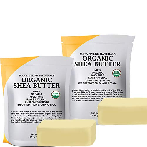 USDA Certified Organic Shea butter 2 lb (2 Bags - 1 lb each) Raw Unrefind Shea butter Ivory From Ghana Africa, Skin Nourishment, Eczema, Stretch Marks and Body by Mary Tylor Naturals