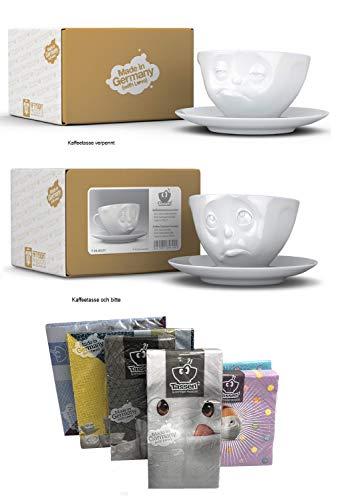 FIFTYEIGHT PRODUCTS Kaffeetassen 2er Set + Servietten, 200 ml, VERPENNT+Och Bitte