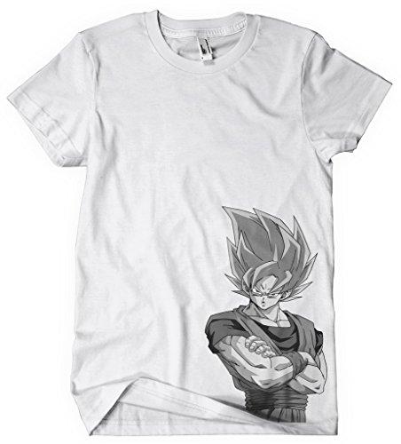 Sushiroll T-Shirt Dragonball Z Goku Dragon Ball Dragball Blonde Fond Mono Blanc - Noir - Petit
