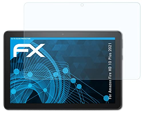 atFoliX Lámina Protectora de Pantalla Compatible con Amazn F¡re HD 10 Plus 2021 Película Protectora, Ultra Transparente FX Lámina Protectora (2X)
