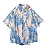 Camisa de Verano para Hombre, Camiseta de Manga Corta Informal de Estilo Hawaiano Holgado de Hip-Hop con Estampado de Degradado con Personalidad M