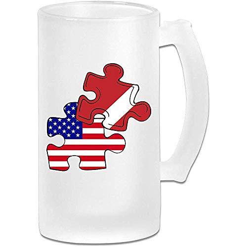 Duik Amerikaanse vlag puzzel stuk Frosted glas Stein bier mok, pub mok, drank mok, geschenk voor bier Drinker, 500Ml (16.9Oz)