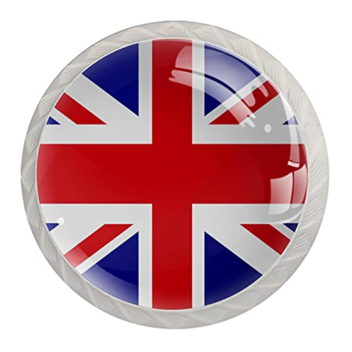 Pomos de resina ABS para gabinete de cocina con diseño redondo de bandera del Reino Unido, 4 unidades