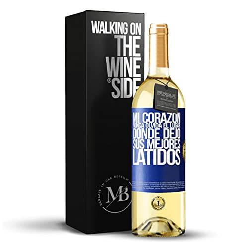 «Mi corazón nunca olvida el lugar donde dejó sus mejores latidos» Mensaje en una Botella. Vino Blanco Premium Verdejo Joven. Etiqueta Azul PERSONALIZABLE.