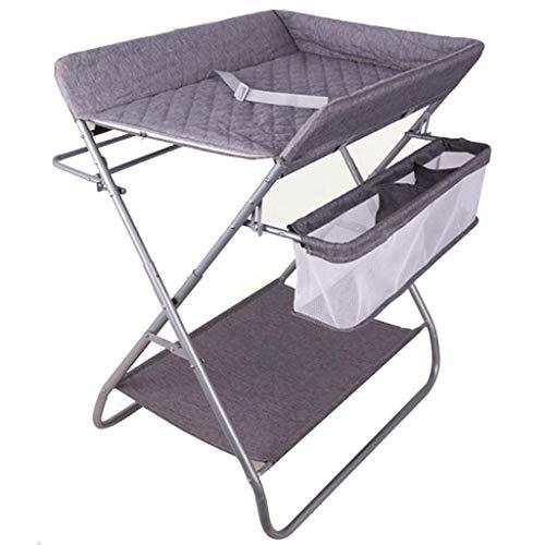 JALAL Table à Langer bébé Pliante pour Petits espaces, Station de Massage pour Commode Enfant en Bas âge Grise avec Rangement, 0-3 Ans