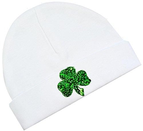 Sequin Shamrock Baby Beanie Hat (White)