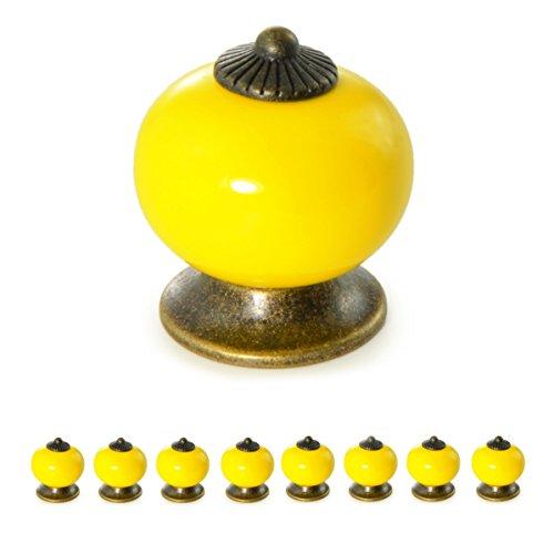 Ganzoo - Tiradores para muebles de porcelana/cerámica, estilo vintage, amarillo