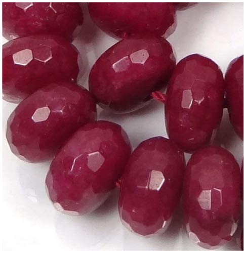 FidgetKute New Genuine Natural Faceted Brazil Red Ruby Gemstone Rondelle Loose Beads 15' AA 5x8mm