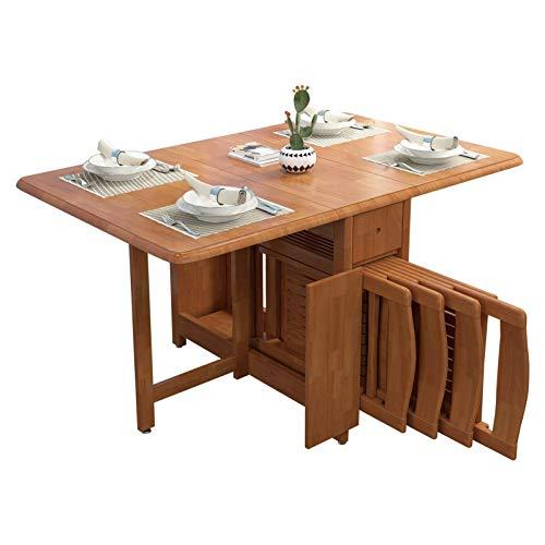 AWCPP Mesa de madera plegable de hoja abatible Mesa de comedor plegable de cocina con 4 sillas traseras, asientos 2-4, escritorio convertible plegable que ahorra espacio