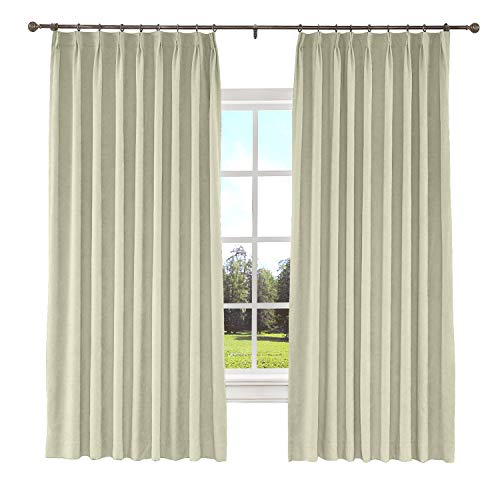 """ChadMade Blackout Curtain Panel Polyester Cotton 50"""" W x 84"""" L Drapery with Blackout Lining Pinch Pleat Thermal Curtain Living Room Beige (1 Panel), Kante Collection"""