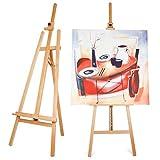 Amzdeal Caballete Pintura Barcelona 175cm Caballete de Madera Caballete Artístico, Altura del lienzo ajustable, con Destornillador Phillips