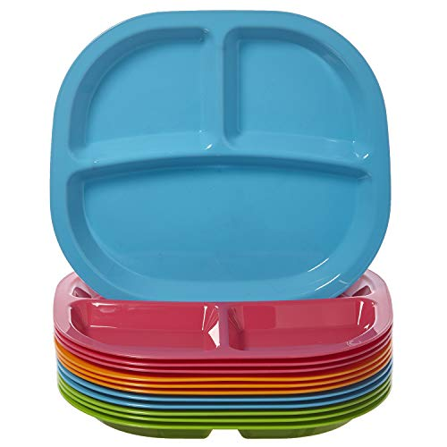 Harmony 3-Compartment Divided Plastic Kids Tray | set of 12 in 4 Calypso Colors