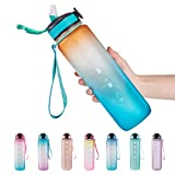 EYQ 32 oz Water Bottle with Time Marker, Carry Strap, Leak-Proof Tritan BPA-Free, Ensure You Drink Enough Water for Fitness, Gym, Camping, Outdoor Sports (Orange/Green Gradient)