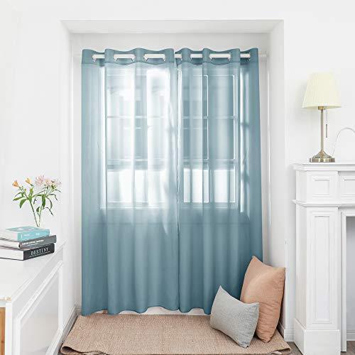 Deconovo Cortina Translucida de Salon Moderna Visillos para Ventana Habitación Dormitorio Matrimonio Comedor 2 Piezas 140x180cm Verde Oscuro
