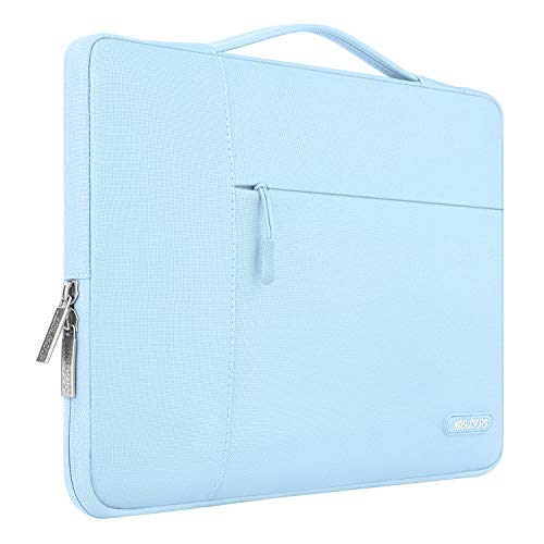 MOSISO Laptop Briefcase Compatible with 13-13.3 Inch Laptop, Notebook, MacBook Air/Pro, Polyester Multifunctional Sleeve Carrying Bag, Airy Blue