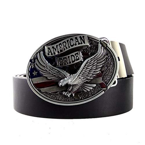 WDYDDW Herren Gürtel Western Cowboy Gürtel Männer Schwarze Leder Gürtel Männer Mit American Pride Gürtelschnalle Metall 3D Adler Logo