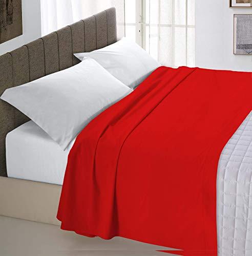 Italian Bed Linen Max Color Lenzuolo Sopra Tinta Unita, 100% Cotone, Matrimoniale, Rosso, 240 x 300 cm