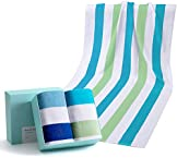 """WIIKWEEK 100% Cotton Beach Towel Oversized with Colorful Stripes, Soft and Quick Dry Beach/Swim/Pool/Bath Towels (30"""" x 60"""")"""