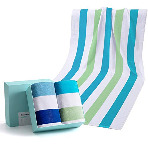 WIIKWEEK 100% Cotton Beach Towel Oversized with Colorful Stripes, Soft and Quick Dry Beach/Swim/Pool/Bath Towels (30