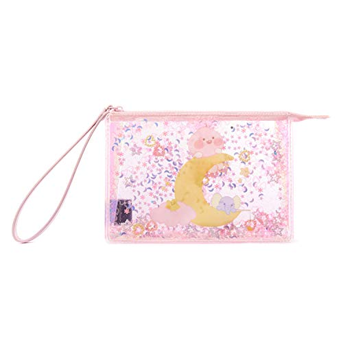 KAKAO FRIENDS - Baby Dreaming Thema Roze Glitter Cosmetische tas portemonnee (Little Apeach)