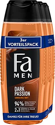 Fa Men 2in1 Körper & Haar Duschgel Dark Passion mit erfrischendem Duft von Sandelholz 3er, 750 ml