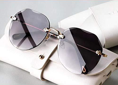 YGWALL Gafas de Sol de Estilo Nuevo para Mujer, Gafas de Sol ovaladas con Personalidad, antirreflejo, Anti-Ultravioleta, Moda Retro Gris