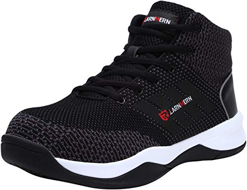 LARNMERN Chaussures de sécurité à Bout en Acier Homme, LM1035 Respirantes antidérapantesà Bouts Hauts Baskets, Noir/Blanc, 45 EU