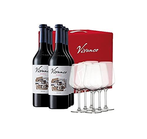 Estuche ESPECIAL 6 bot Tinto RESERVA 2014 Dinastía Vivanco + REGALO 6 Copas Cata/Gourmet 50 ml