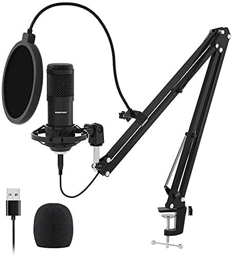 Microfono USB per PC Kit, SUDOTACK Microfono Cardioide Professionale con Braccetto, per Gaming, Registrazione, Podcast, Skype, YouTuber, Voice-Over