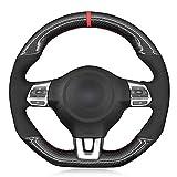 SAXTZDS Cubierta de Volante de Gamuza de Fibra de Carbono para Coche, Apta para Volkswagen Golf 6 GTI MK6 VW Polo GTI Scirocco R Passat CC R-Line