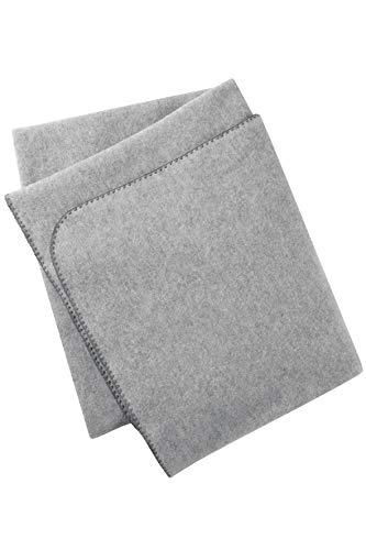 Engel Natur, Baby Fleece Decke mit Muschelkante, 100% Wolle (kbT) (80x100 cm, Grau melange)