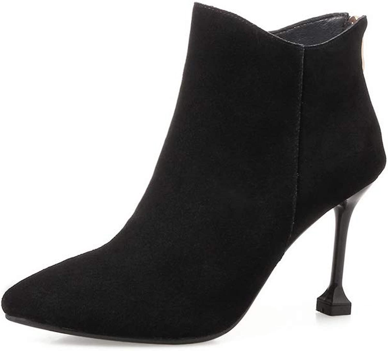 AN Womens Nubuck High-Heels Solid Urethane Boots DKV02857