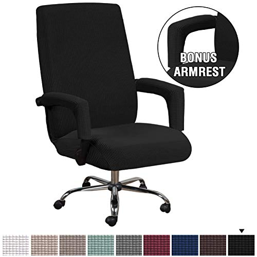 H.VERSAILTEX Office Chair Cover Black - Protective & Stretchable Universal Chair Covers Stretch Rotating Chair Slipcover Lycra Jacquard Computer Office Chair Cover, Machine Washable, Large chair Dining Features Kitchen Slipcovers