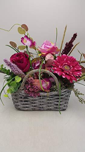 Gesteck Sommergesteck Blumengesteck Seidenblumen Gerbera Rosen Heide pink rosa