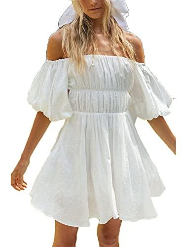 Sexy fuera del hombro vestido verano mujeres temperamento color sólido barco cuello Puff manga corta dobladillo grande mini falda, blanco, M