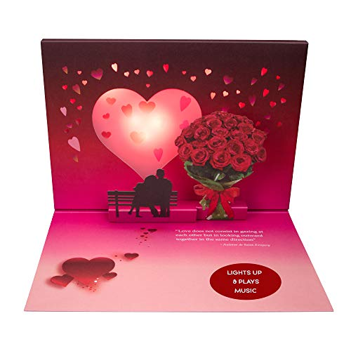 100 GREETINGS Happy Anniversary Pop Up Card - Plays Music from 'Just The Two of Us' - 3D Romantic Wedding Day Greeting Cards Your Partner Will Love - Pop-up Anniversary Celebration Gifts for Him & Her