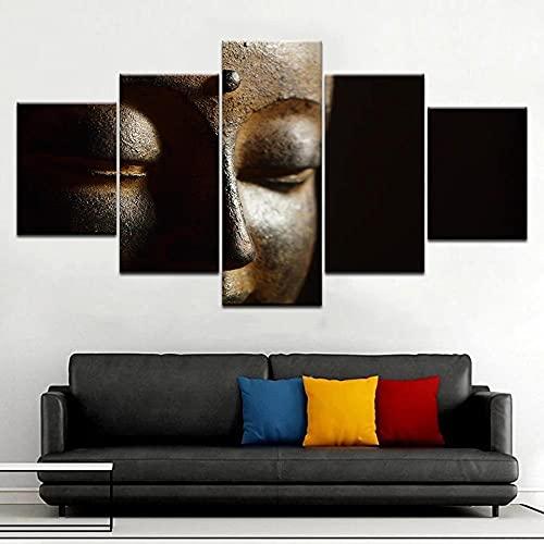 GUANGWEI 5 Piezas Lienzo Pintura Moderna Etiqueta De La Pared Estatua De Buda, Creencia Pintura De Arte De Impresión HD Y Decoración del Hogar Decoración De Muebles Pintura De Arte De Pared 3D