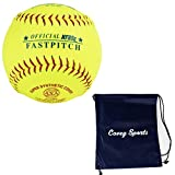 ProNine Softballs 12 Inch Fastpitch High School Balls (3-Pack) Bundled with Covey Sports Bag