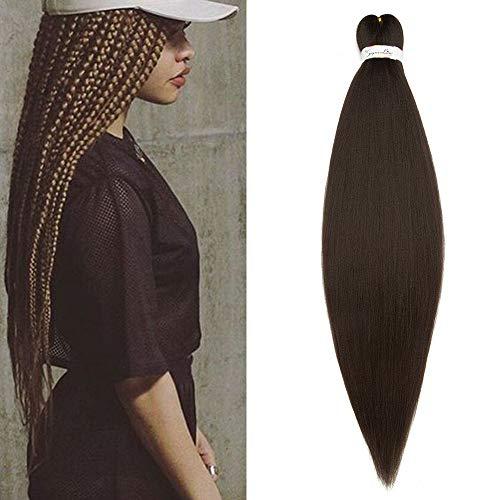SEGO Box Braids Extension Cheveux Fibre Synthetique Kanekalon Rajout Meche Tress Extension Crochet Braids - [ 1 Ton 100g ] 26 Pouces (66cm) Marron Chocolat