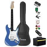 Donner Guitare Electrique DST-1 39 pouces avec Ampli, Sac, Capo, Sangle, Cordes, Accordeur, Câble et Médiators (Bleu ciel)