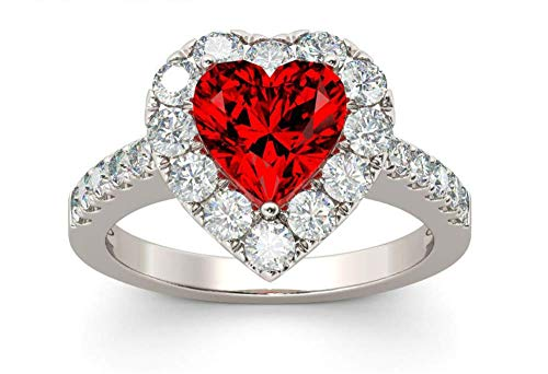 Bib Jewelry Red Ruby Heart Shape Gemstone Plated 925 Silver Wedding Rings for Women Bridal Fine Jewelry Engagement Bague Accessories Size 6-10 (9#)