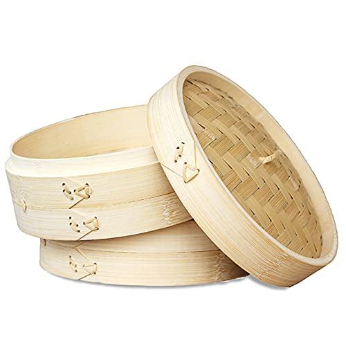 LTLWSH Vaporizador de Alimentos - 7 Tamaños 2 Niveles Canasta de Vapor de bambú Cocina de arroz Natural Chino Cocina de Alimentos con Tapa...